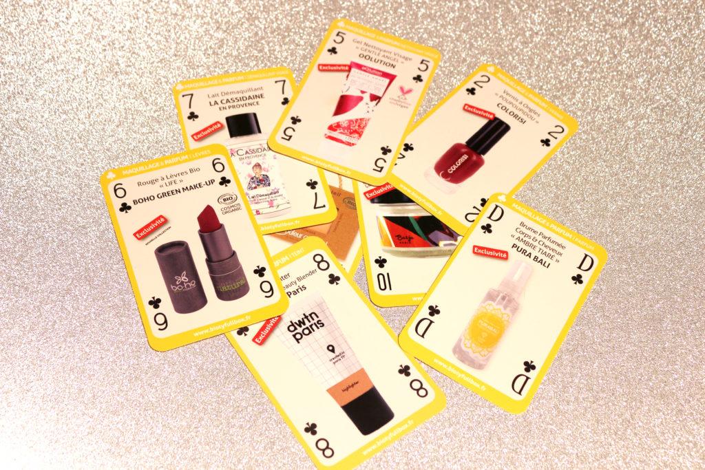 Cartes des produits de maquillage présents dans les Biotyfull Box