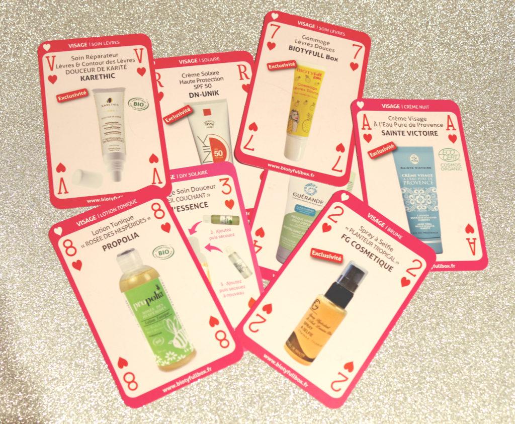 Carte des produits pour le visage présents dans les Biotyfull Box