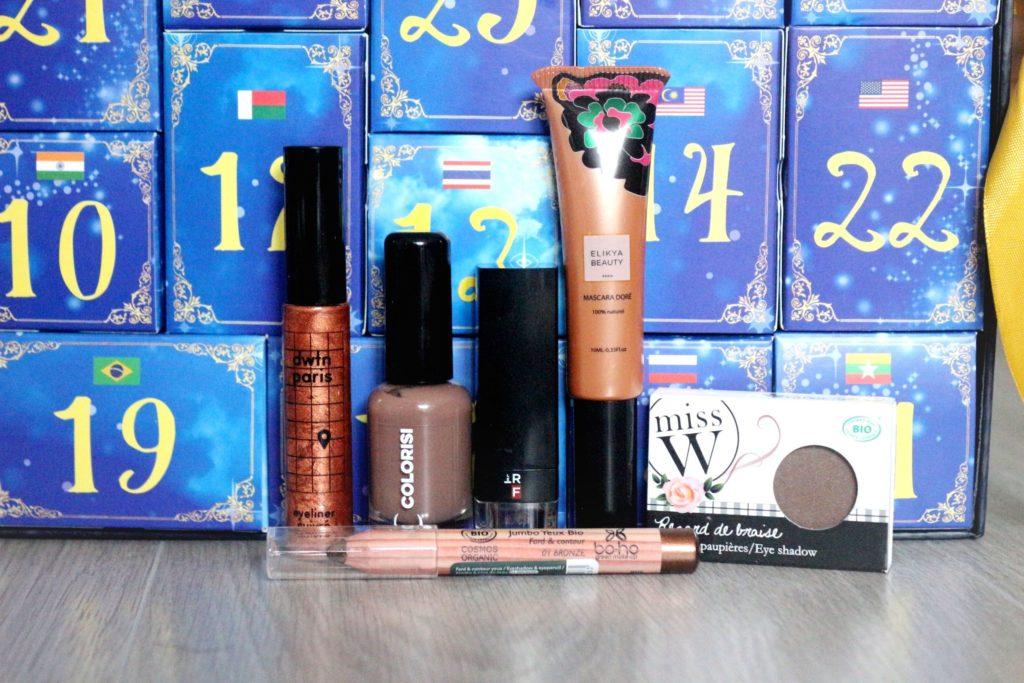 maquillage contenu dans le calendrier de l'avent Biotyfull Box 2019