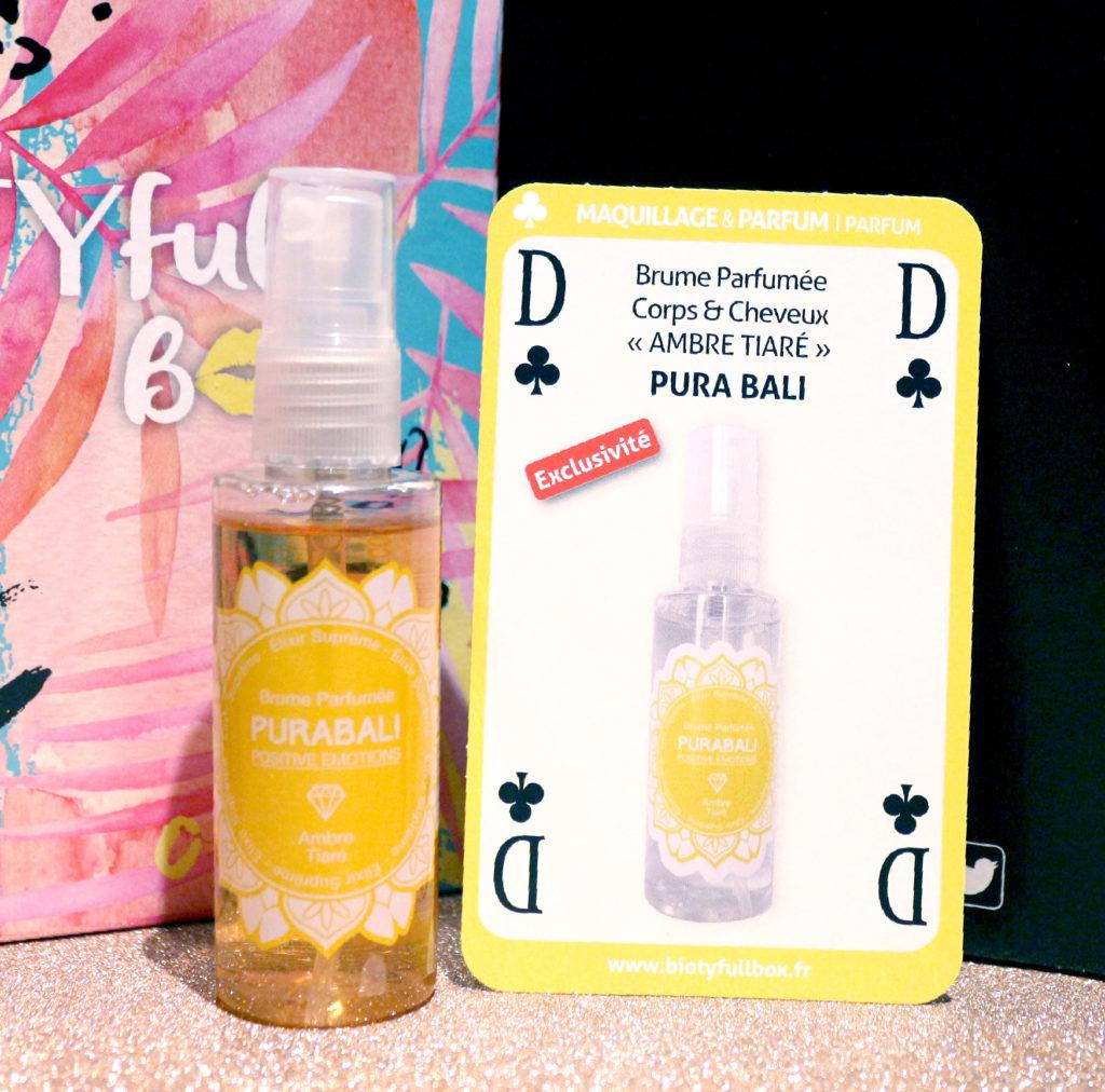 Brume parfumée Pura Bali dans la Biotyfull Box de juin 2018
