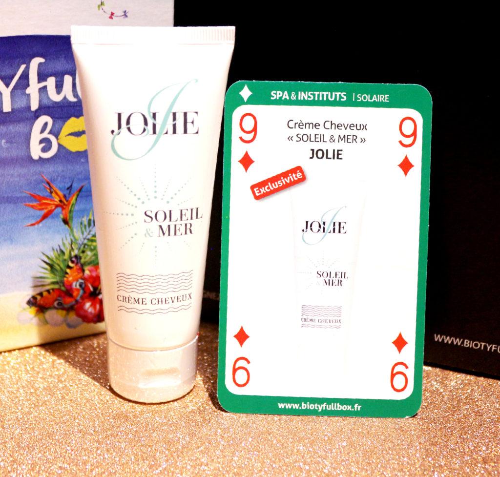 Crème cheveux soleil et mer Jolie dans la Biotyfull Box d'août 2018