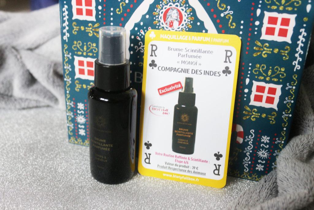 Brume scintillante parfumée monoï Compagnie des Indes dans la Biotyfull Box de décembre 2019