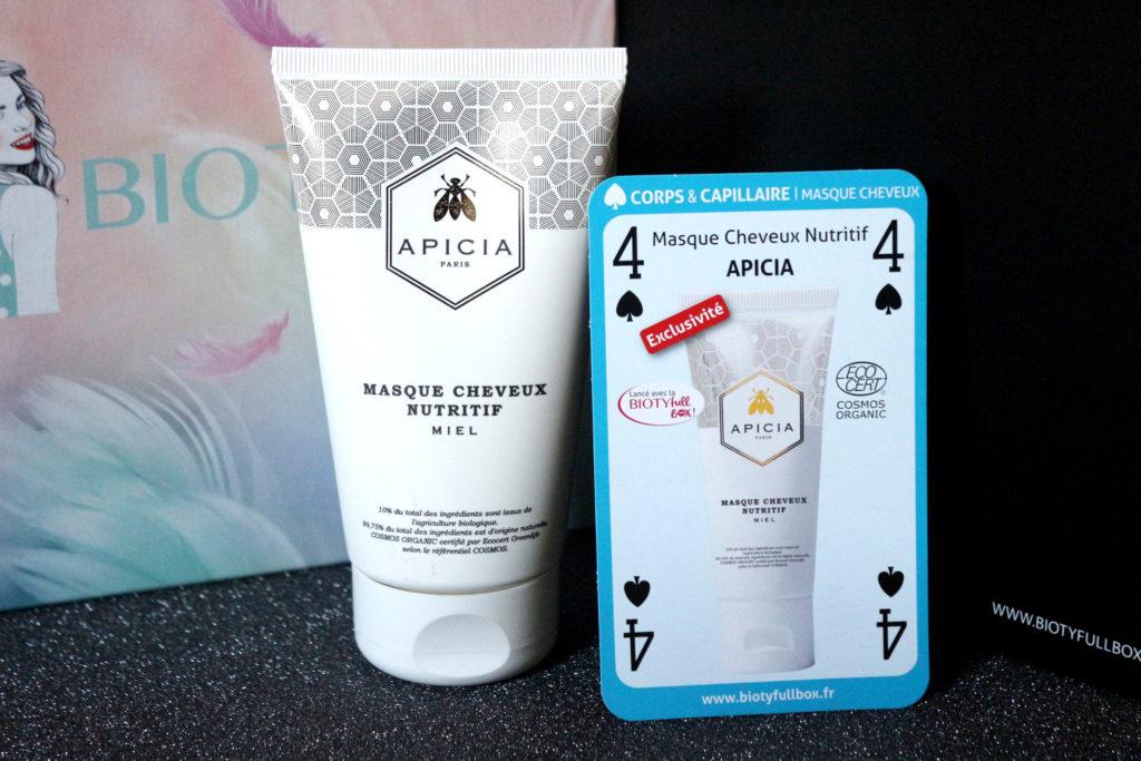 Masque cheveux nutritif Apicia dans la Biotyfull Box de janvier 2019