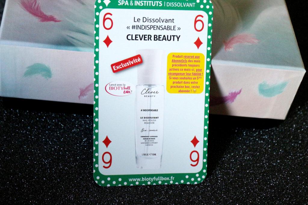 Dissolvant Clever Beauty dans la Biotyfull Box de janvier 2019