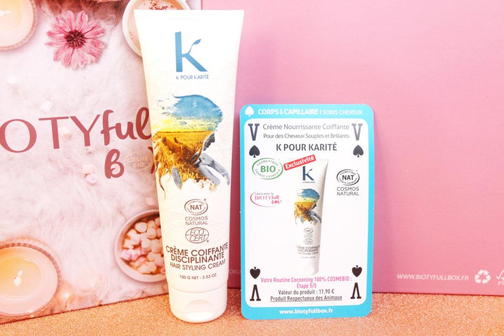 Crème nourrissante coiffante K pour Karité dans la Biotyfull Box de novembre 2019