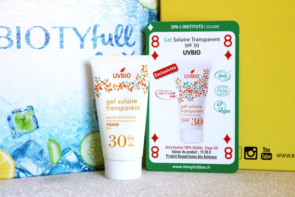 Gel solaire transparent SPF 30 de la marque UVBIO dans la Biotyfull Box de juin 2020