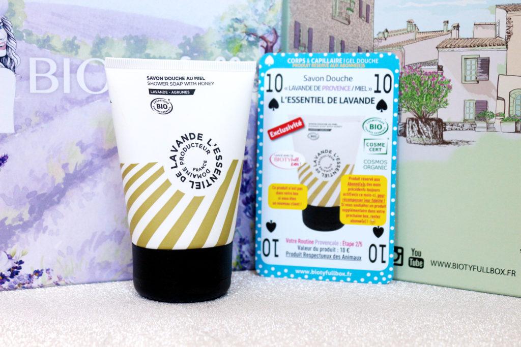 Savon douche lavande et miel de la marque L'Essentiel de Lavande dans la Biotyfull Box de mai 2020